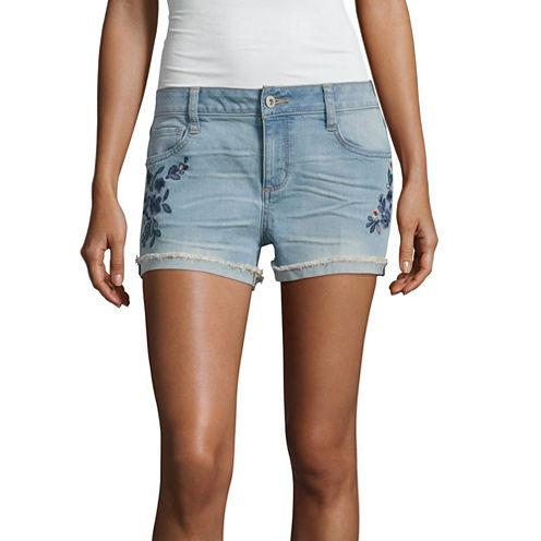 Arizona Embroidered Shorts-Juniors