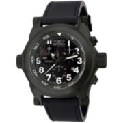 Invicta® I Force Mens Black Leather Strap Chronograph Watch