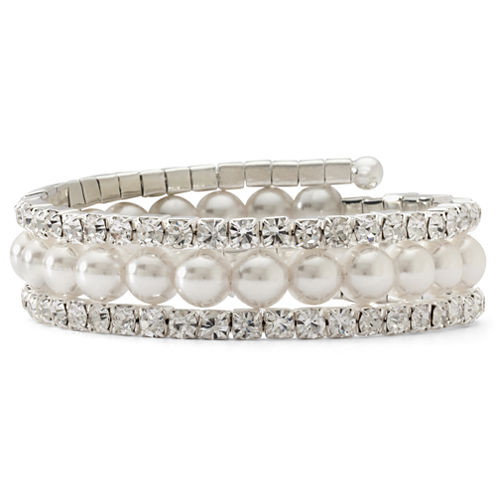 Vieste® Decree® Crystal & Simulated Pearl Coil Bracelet