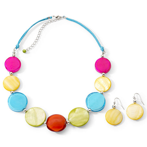Multicolor Large Shell Necklace & Earrings Set
