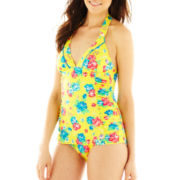 Arizona Floral Print Shirred-Side Halter Swimdress - Juniors