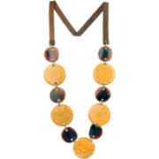 Designs by Adina Yellow & Brown Shell Necklace