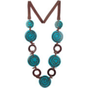 Designs by Adina Wood & Blue Resin Link Necklace