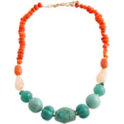 Art Smith by BARSE Mixed Gemstone & Bamboo Necklace