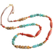 Art Smith by BARSE Leather & Mixed Gemstone Long Necklace