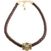 Art Smith by BARSE Turquoise & Brown Leather Necklace