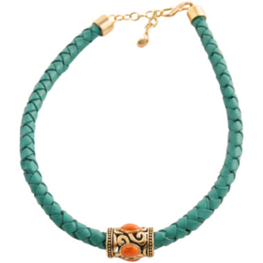 jcpenney.com | Art Smith by BARSE Coral & Aqua Leather Necklace