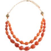 Art Smith by BARSE Red & Orange Gemstone Double-Strand Necklace