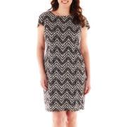 R&K Originals® Short-Sleeve Chevron Print Shift Dress - Plus