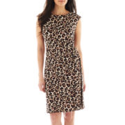 R&K Originals® Cap-Sleeve Animal Print Side-Tie Dress - Petite