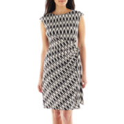 R&K Originals® Cap-Sleeve Chevron Print Side-Tie Dress - Petite