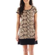 MSK Short-Sleeve Colorblock Shift Dress - Petite