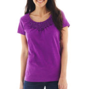 St. John's Bay® Short-Sleeve Smocked-Neck Embellished Tee - Petite