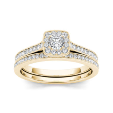 jcpenney.com | 1/2 CT. T.W. Diamond 10K Yellow Gold Halo Bridal Ring Set