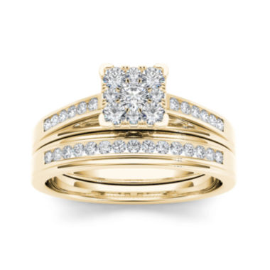 jcpenney.com | 1/2 CT. T.W. Diamond Square 10K Yellow Gold Bridal Ring Set