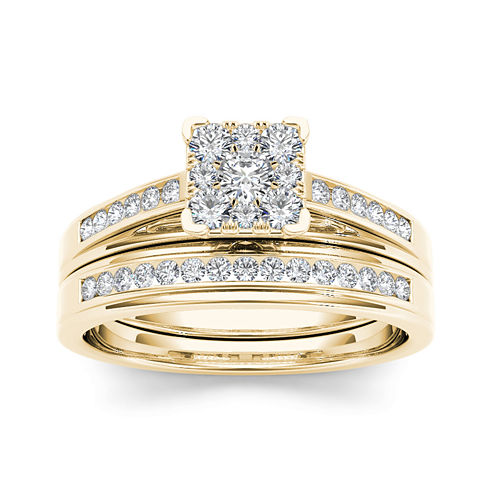 1/2 CT. T.W. Diamond Square 10K Yellow Gold Bridal Ring Set