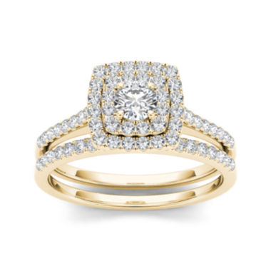 jcpenney.com | 3/4 CT. T.W. Diamond 10K Yellow Gold Bridal Ring Set