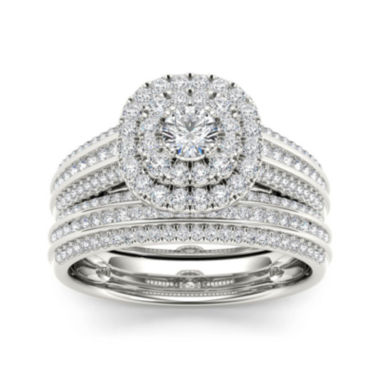 jcpenney.com | 1 CT. T.W. Diamond Halo 10K White Gold Bridal Ring Set