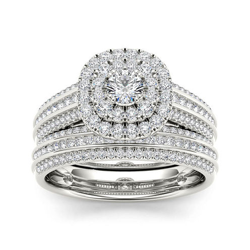 1 CT. T.W. Diamond Halo 10K White Gold Bridal Ring Set
