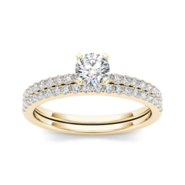 jcpenney.com | 3/4 CT. T.W. Diamond 14K Yellow Gold Bridal Ring Set