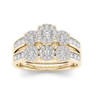 34 CT TW Diamond Cluster 10K Yellow Gold Bridal Ring Set