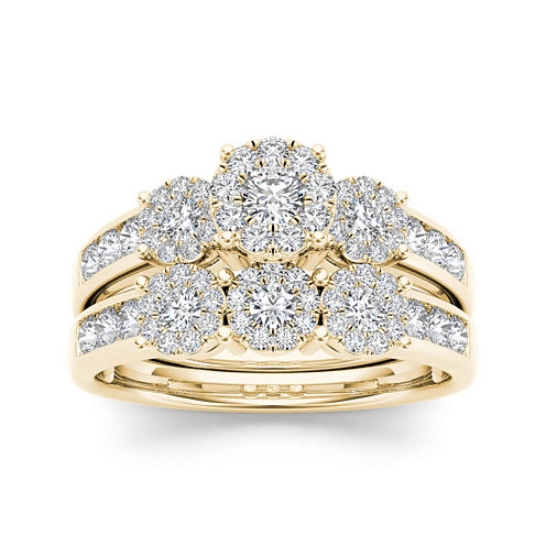 3/4 CT. T.W. Diamond Cluster 10K Yellow Gold Bridal Ring Set