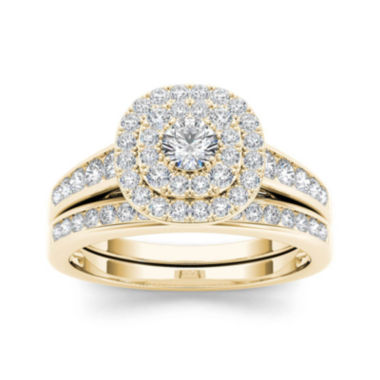 jcpenney.com | 7/8 CT. T.W. Diamond 10K Yellow Gold Bridal Ring Set
