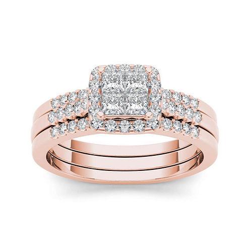 3/4 CT. T.W. Diamond 14K Rose Gold Bridal Set
