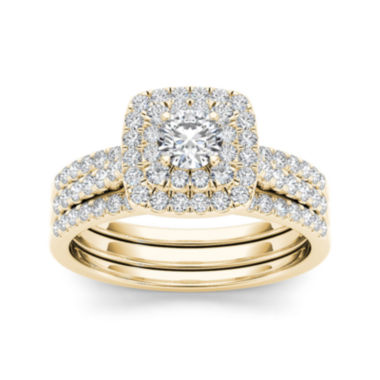 jcpenney.com | 1 CT. T.W. Diamond 10K Yellow Gold Halo Bridal Ring Set