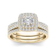 1 CT. T.W. Diamond 10K Yellow Gold Halo Bridal Ring Set
