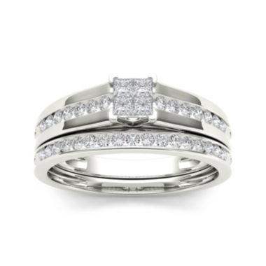 jcpenney.com | 1/2 CT. T.W. Diamond 10K White Gold Bridal Set Ring