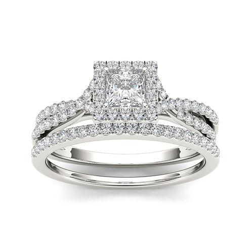 1 CT. T.W. Diamond 10K White Gold Bridal Set