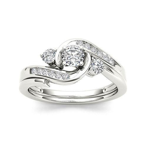 1/2 CT. T.W. Diamond 10K White Gold 3-Stone Bypass Ring Set