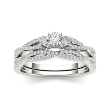 jcpenney.com | 1/2 CT. T.W. Diamond 14K White Gold Crossover Bridal Ring Set