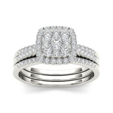 jcpenney.com | 1/2 CT. T.W. Diamond 10K White Gold Bridal Set
