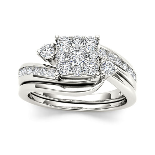 3/4 CT. T.W. Diamond 10K White Gold Bridal Set Ring