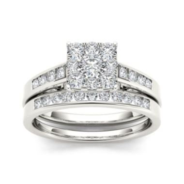 jcpenney.com | 3/4 CT. T.W. Diamond 10K White Gold Bridal Ring Set