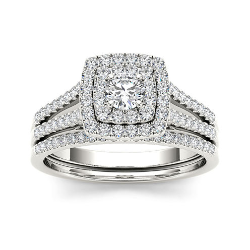 3/4 CT. T.W. Diamond 10K White Gold Bridal Set