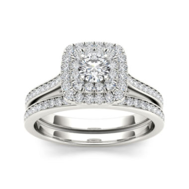 jcpenney.com | 3/4 CT. T.W. Diamond Halo 10K White Gold Bridal Ring Set