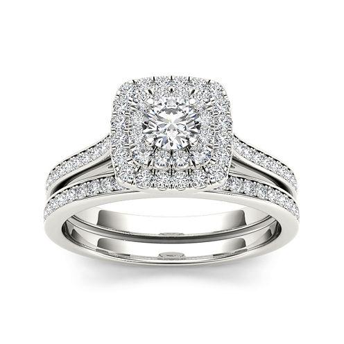 3/4 CT. T.W. Diamond Halo 10K White Gold Bridal Ring Set