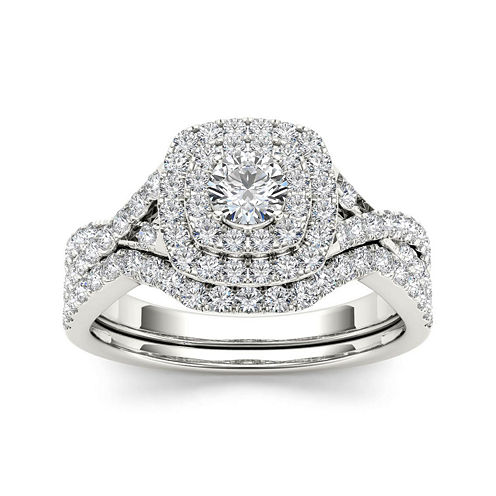 7/8 CT. T.W. Diamond 10K White Gold Bridal Ring Set