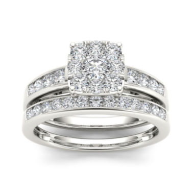jcpenney.com | 1 CT. T.W. Diamond 10K White Gold Bridal Ring Set