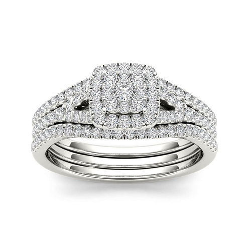 3/4 CT. T.W. Diamond Cluster 10K White Gold Bridal Ring Set