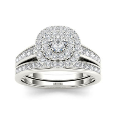 jcpenney.com | 7/8 CT. T.W. Diamond 10K White Gold Bridal Ring Set