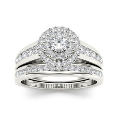 jcpenney.com | 7/8 CT. T.W. Diamond 10K White Gold Bridal Set