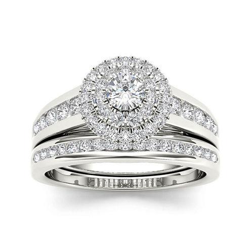 7/8 CT. T.W. Diamond 10K White Gold Bridal Set