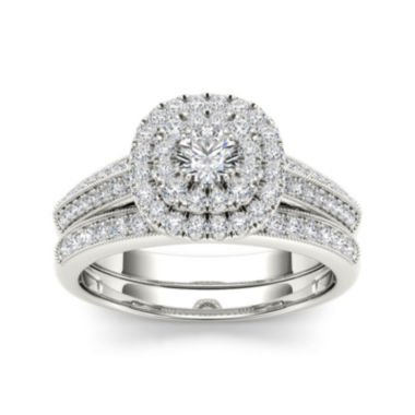jcpenney.com | 7/8 CT. T.W. Diamond 10K White Gold Halo Bridal Ring Set