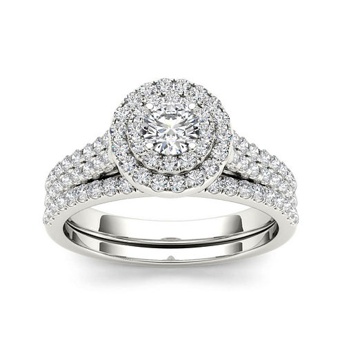 1 CT. T.W. Diamond 10K White Halo Bridal Ring Set