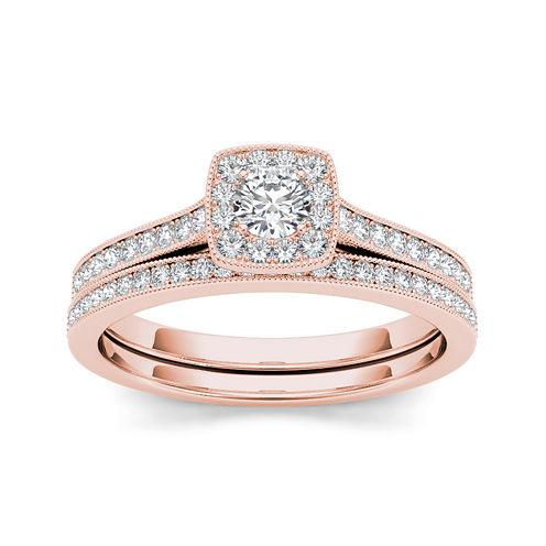 1/2 CT. T.W. Diamond 10K Rose Gold Halo Bridal Ring Set