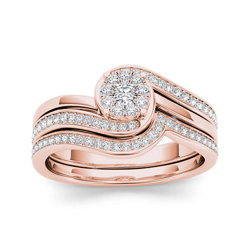 1/2 CT. T.W. Diamond 10K Rose Gold Swirl Bridal Ring Set